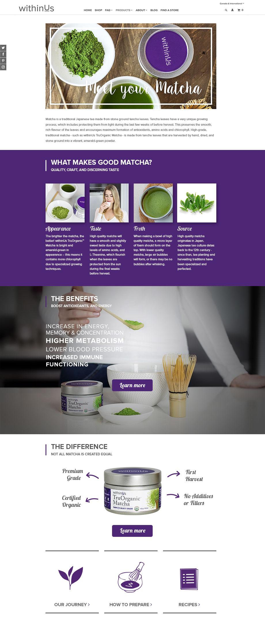 Matcha Landing Page Design